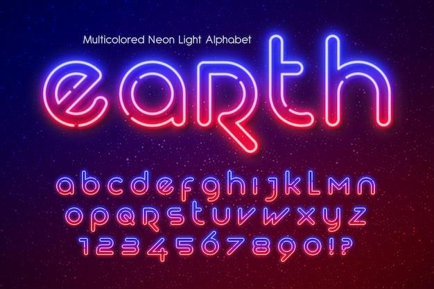 Alfabet światła neonowego, dodatkowo świecący futurystyczny typ.