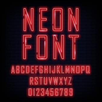 Alfabet światła neonowego. światło jarzeniowe neon
