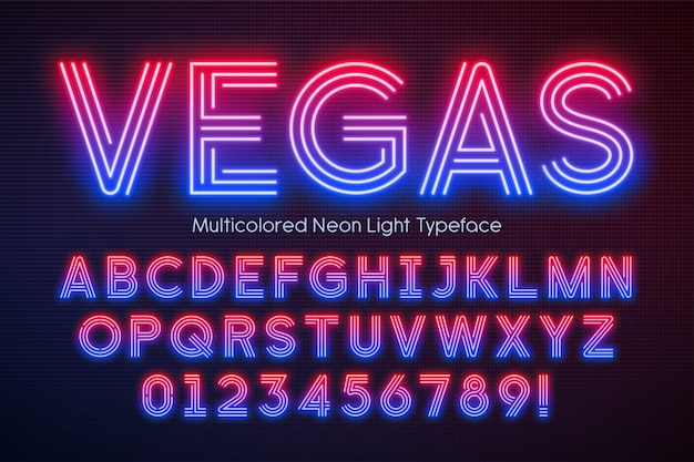 Alfabet światła neonowego, wielobarwna, dodatkowo świecąca czcionka