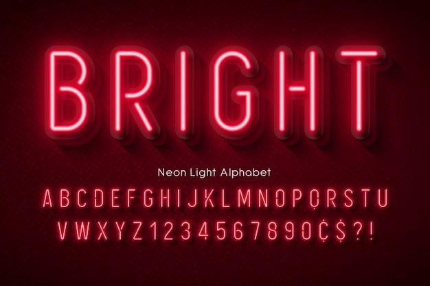 Alfabet światła neonowego, wielobarwna, dodatkowo świecąca czcionka.