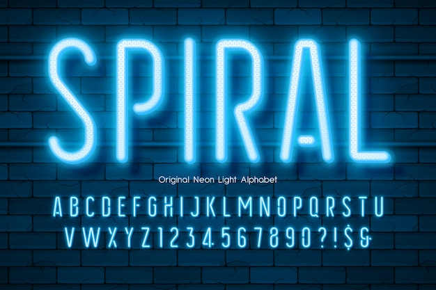 Alfabet światła Neonowego, Wyjątkowo świecący Nowoczesny Typ. Premium Wektorów