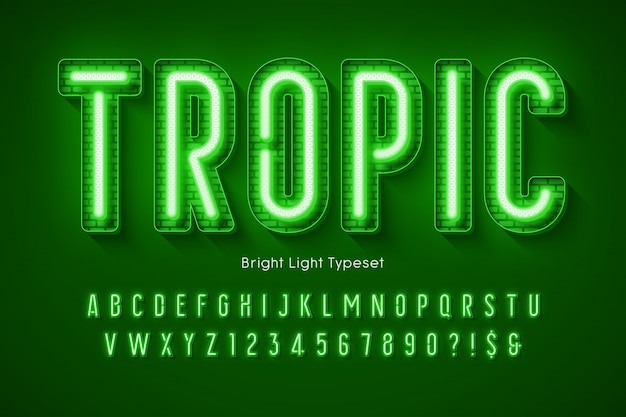 Alfabet światła neonowego, wyjątkowo świecący nowoczesny typ.