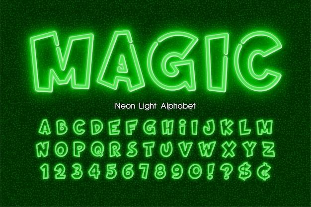 Alfabet światła neonowego, wyjątkowo świecący typ komiksu.
