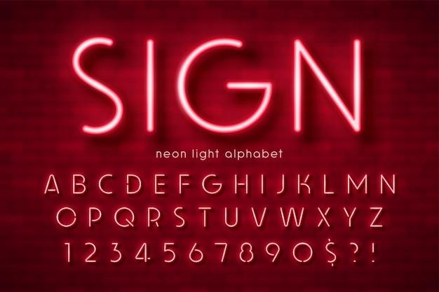 Alfabet światła neonowego