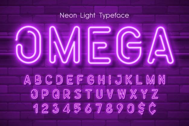 Alfabet światła neonowego,.