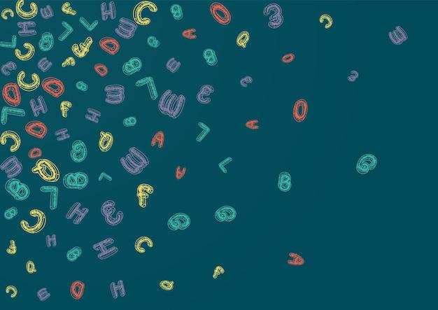 Alfabet Tablica Wektor Zielone Tło. Tekst Pisania Tekstury. Ilustracja Tablica Ozdobny List. Szkicowa Typografia. Premium Wektorów