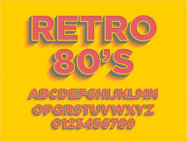 Alfabet tekstu w stylu retro z lat 80