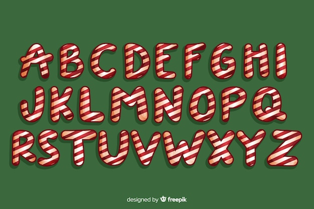 Alfabet trzciny cukrowej słodkich świąt bożego narodzenia
