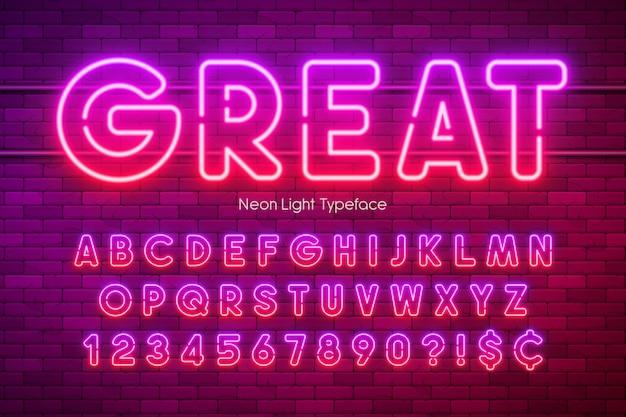 Alfabet w jasnych kolorach, wielobarwna, świecąca czcionka