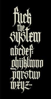 Alfabet W Stylu Gotyckim Litery I Symbole Na Czarnym Tle Kaligrafia Z Białym Markerem Premium Wektorów