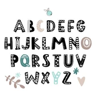 Alfabet w stylu skandynawskim. plakat dla dzieci z ręcznie rysowanymi literami, abc.