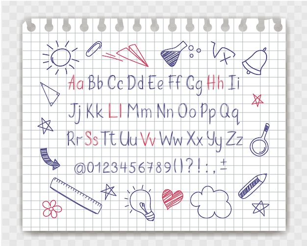 Alfabet w stylu szkicowym z doodles szkoły na arkuszu zeszytu.