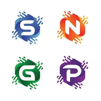 Alfabet w sześciokątnych kolekcjach logo