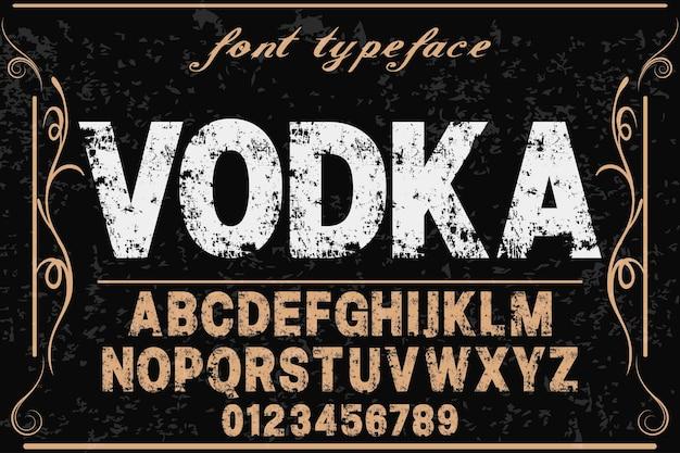 Alfabet wektor etykieta nazwa projektu wódka