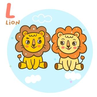 Alfabet wektor ładny lew