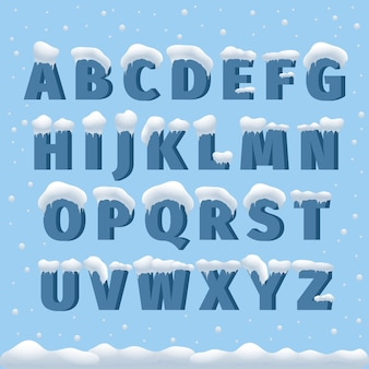 Alfabet wektor zima ze śniegiem. list abc, czcionka lodowata, czcionka mrozu sezonowego, typografia lub skład. ilustracja wektorowa alfabetu zima