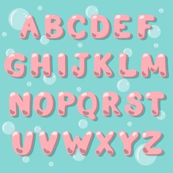 Alfabet wektora catoon w stylu bubble gum.