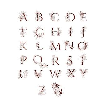 Alfabet weselny z dekoracjami kwiatowymi