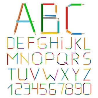 Alfabet wykonany z kolorowych ołówków, ilustracji