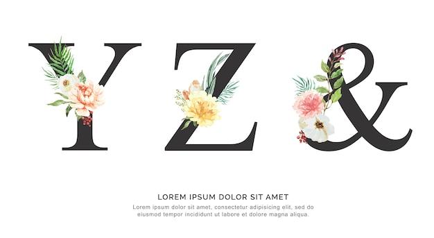 Alfabet yz i akwarela kwiatów i liści.