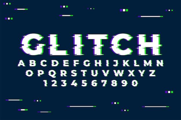Alfabet z cyframi i modnym efektem usterki