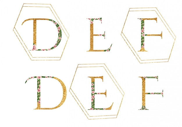 Alfabet z logo d, e, f