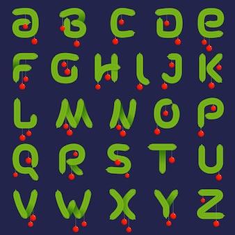 Alfabet z ozdobnych gałęzi jodły boże narodzenie.