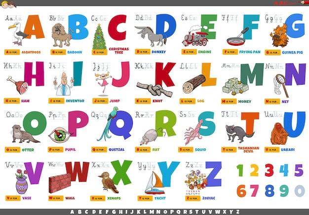 Alfabet z postaciami z kreskówek i zestawem edukacyjnym przedmiotów