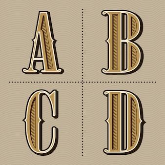 Alfabet zachodnich liter rocznika projekt wektor