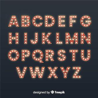 Alfabet żarówki teatru