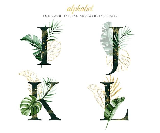 Alfabet zestaw i, j, k, lz zieloną tropikalną akwarelą. na logo, karty, branding itp
