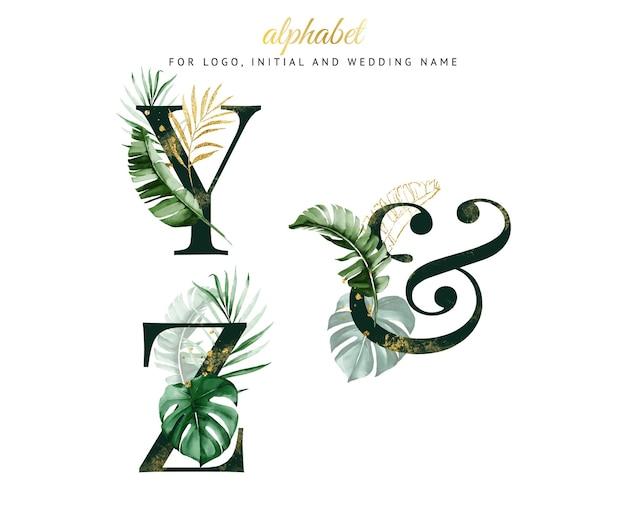 Alfabet zestaw y, zz zieloną tropikalną akwarelą. na logo, karty, branding itp