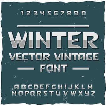 Alfabet zimowy śnieg z edytowalnym krojem czcionki