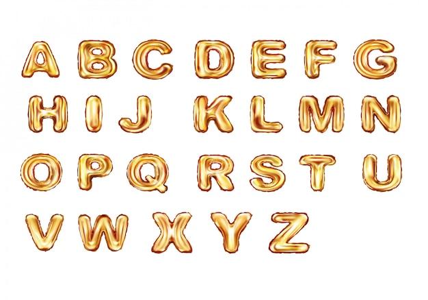 Alfabet złote balony realistyczny wektor