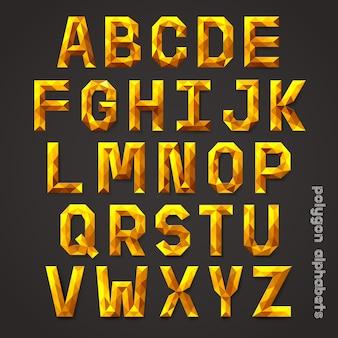 Alfabet złoty kolor wielokąta stylu.