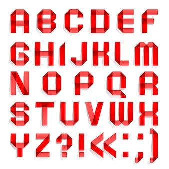 Alfabet złożony z kolorowego papieru, czerwone litery