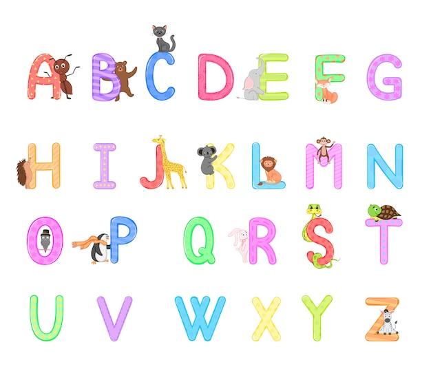 Alfabet zoo. alfabet zwierząt. litery od a do z.