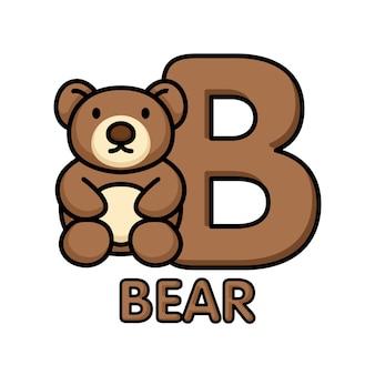 Alfabet zwierząt b dla niedźwiedzia