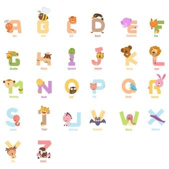 Alfabet zwierząt dla dzieci