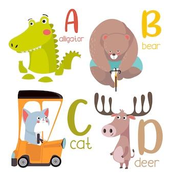 Alfabet zwierząt grafika od a do p. ładny alfabet zoo ze zwierzętami w stylu kreskówki.