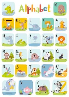 Alfabet zwierząt grafika od a do z. śliczny alfabet zoo ze zwierzętami w stylu kreskówki.