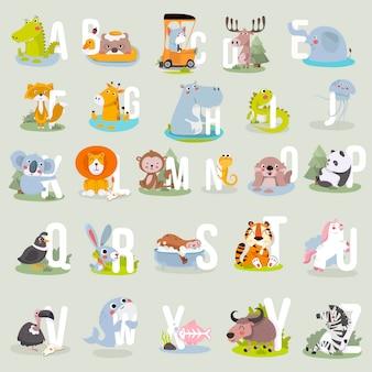 Alfabet zwierząt grafika od a do z. wektor ładny alfabet zoo ze zwierzętami w stylu kreskówki.