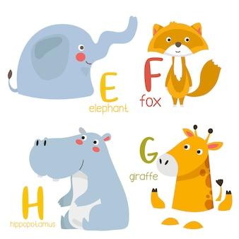 Alfabet zwierząt grafika od e do f. ładny alfabet zoo ze zwierzętami w stylu kreskówki.