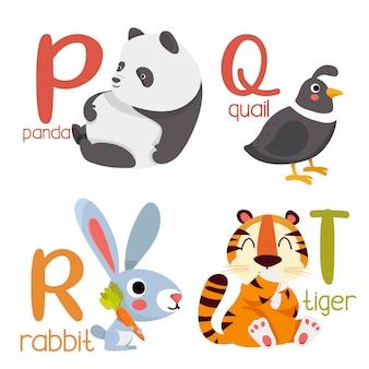 Alfabet zwierząt grafika od p do t. ładny alfabet zoo ze zwierzętami w stylu kreskówki.