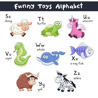 Alfabet zwierząt kreskówek