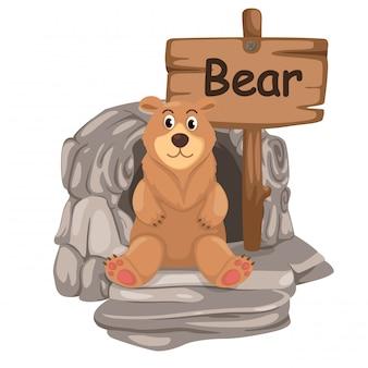 Alfabet zwierząt literę b dla niedźwiedzia