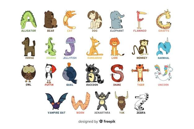 Alfabet zwierząt na białym tle