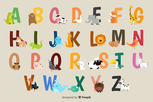 Alfabet zwierząt na szarym tle