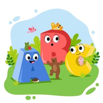 Alfabet zwierząt od a do c z wielką literą. aligatory, niedźwiedź, kot, królik