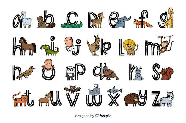 Alfabet zwierząt w płaskiej konstrukcji